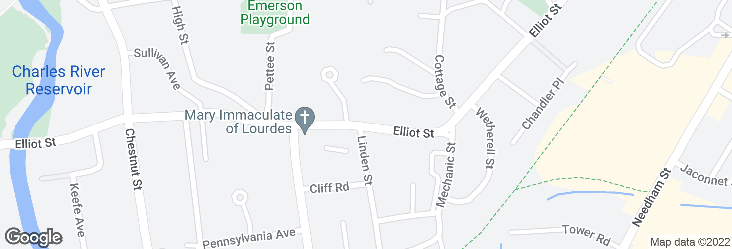 Map of Elliot St @ Linden St and surrounding area
