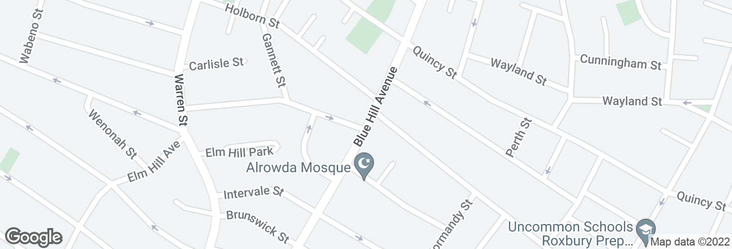 Map of Blue Hill Ave @ Gaston St and surrounding area