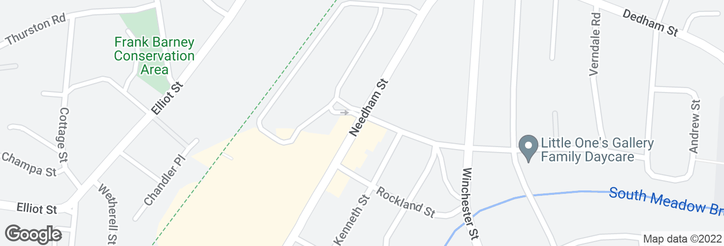 Map of Needham St @ Columbia Ave and surrounding area
