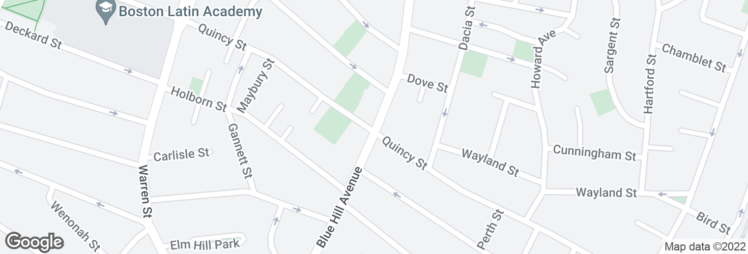 Map of Blue Hill Ave @ Quincy St and surrounding area
