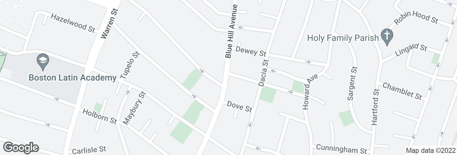 Map of Blue Hill Ave @ Woodcliff St and surrounding area