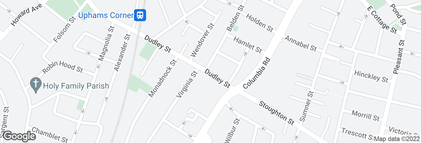 Map of Dudley St @ Belden St and surrounding area