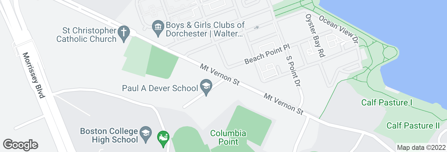 Map of Mt Vernon St opp Paul A. Dever School and surrounding area