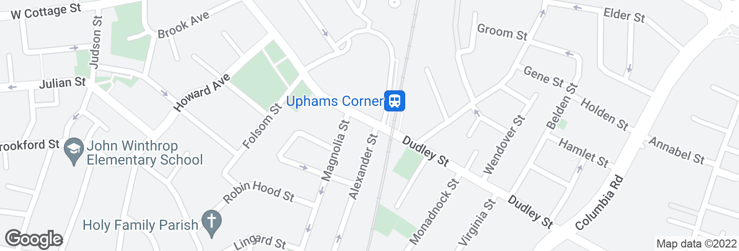 Map of Dudley St @ Uphams Corner Station and surrounding area