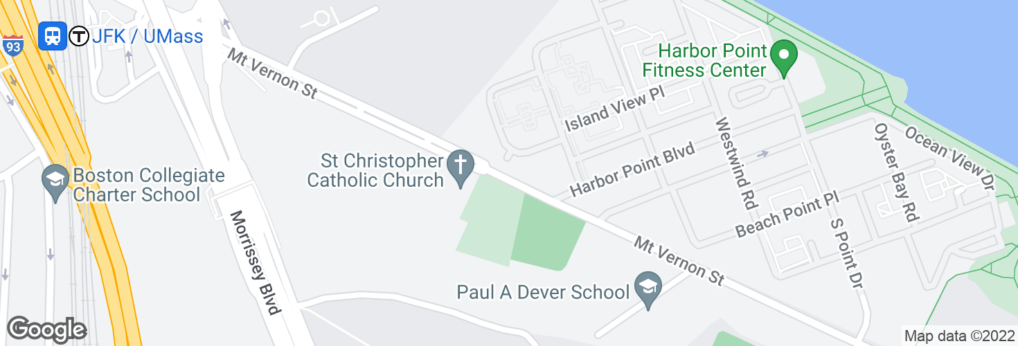 Map of 250 Mt Vernon St @ Geiger Gibson Health Center and surrounding area