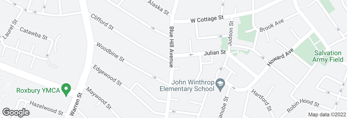 Map of Blue Hill Ave @ Julian St and surrounding area