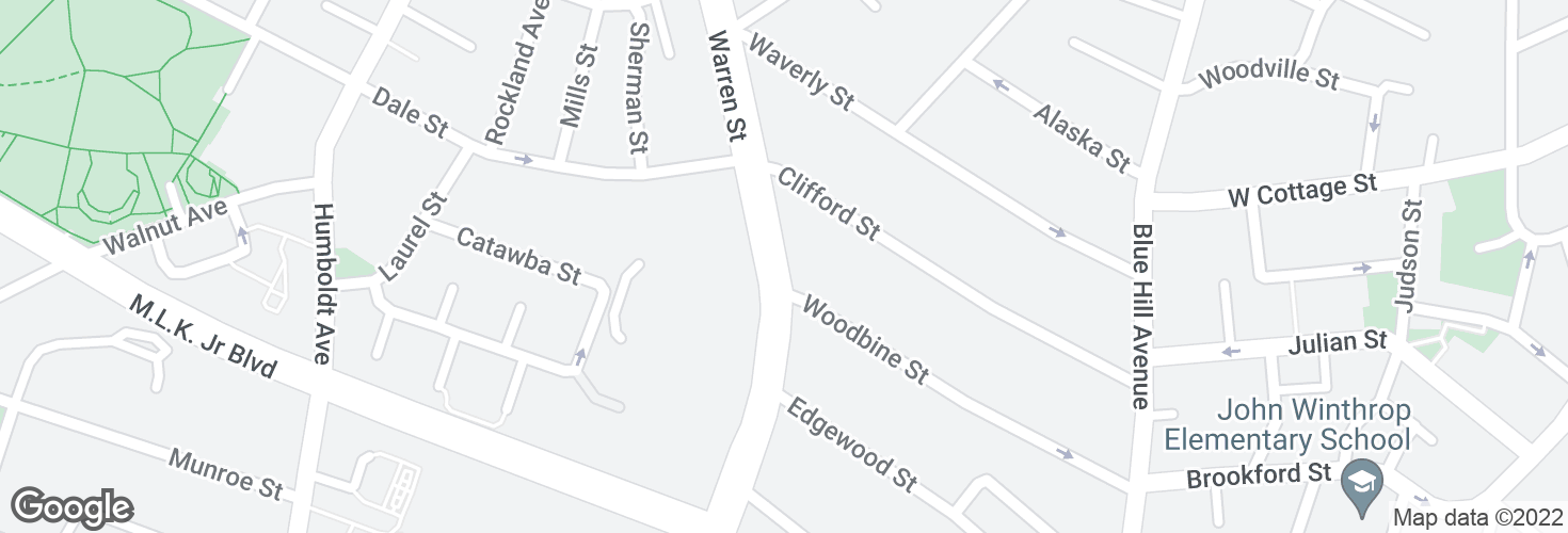 Map of Warren St @ Woodbine St and surrounding area