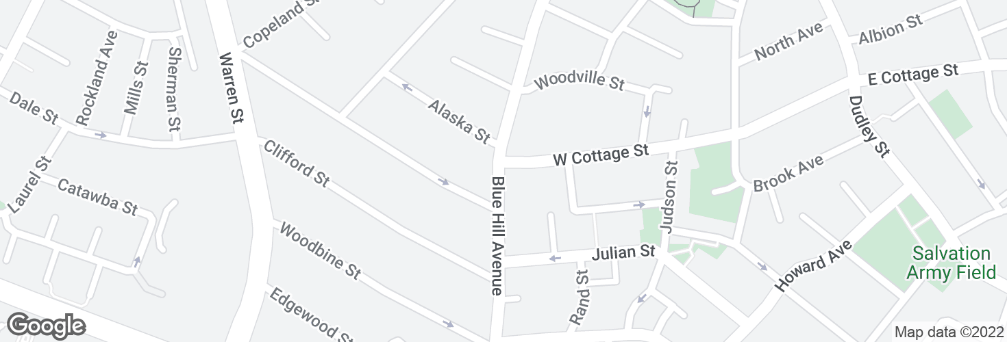 Map of Blue Hill Ave @ W Cottage St and surrounding area
