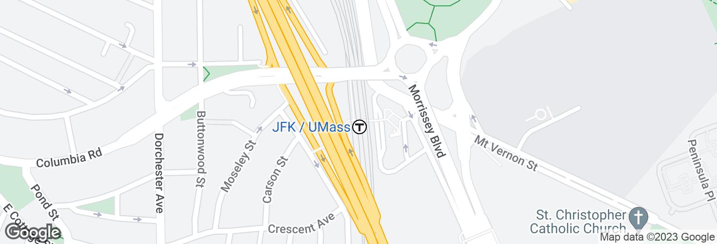 Map of JFK/UMass and surrounding area