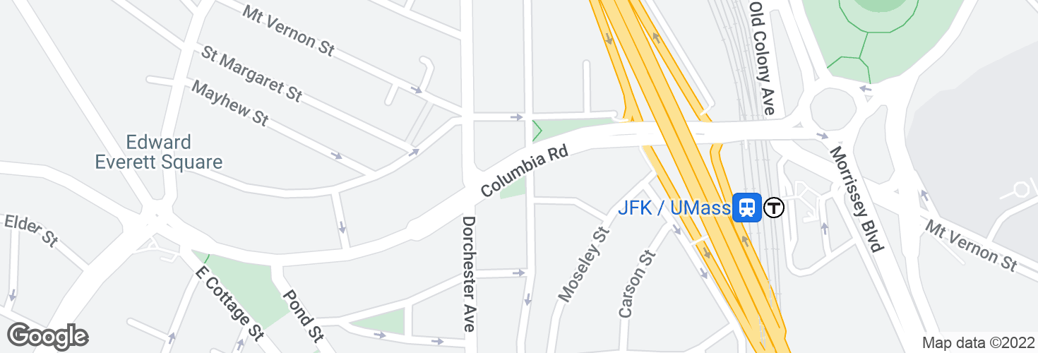 Map of Columbia Rd @ Dorchester Ave and surrounding area