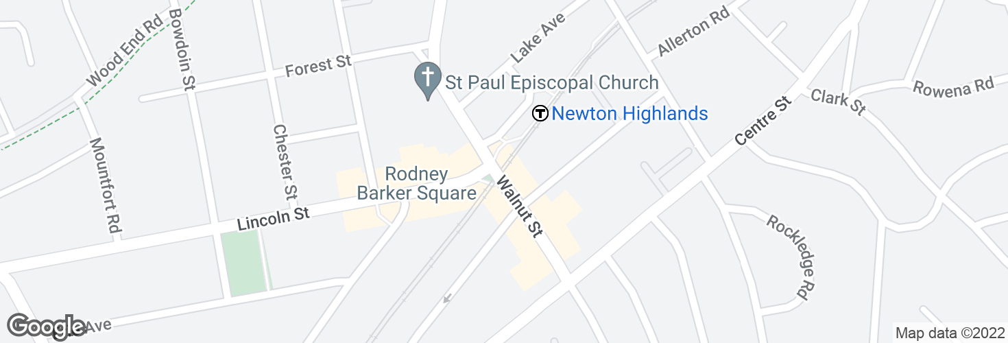 Map of Newton Highlands and surrounding area
