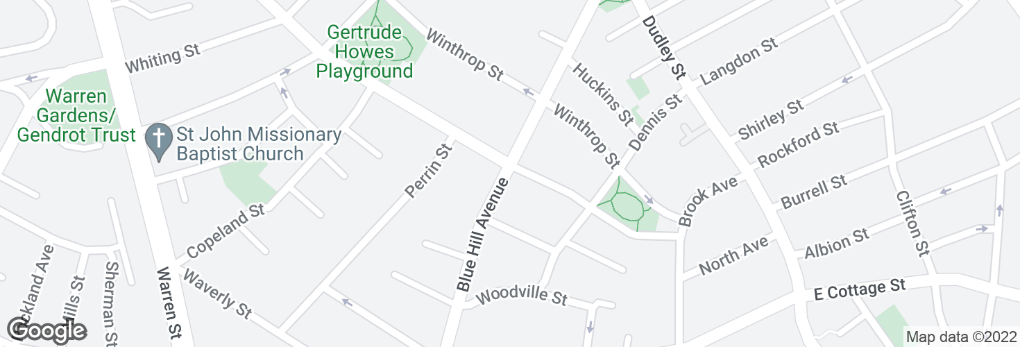 Map of Blue Hill Ave @ Moreland St and surrounding area