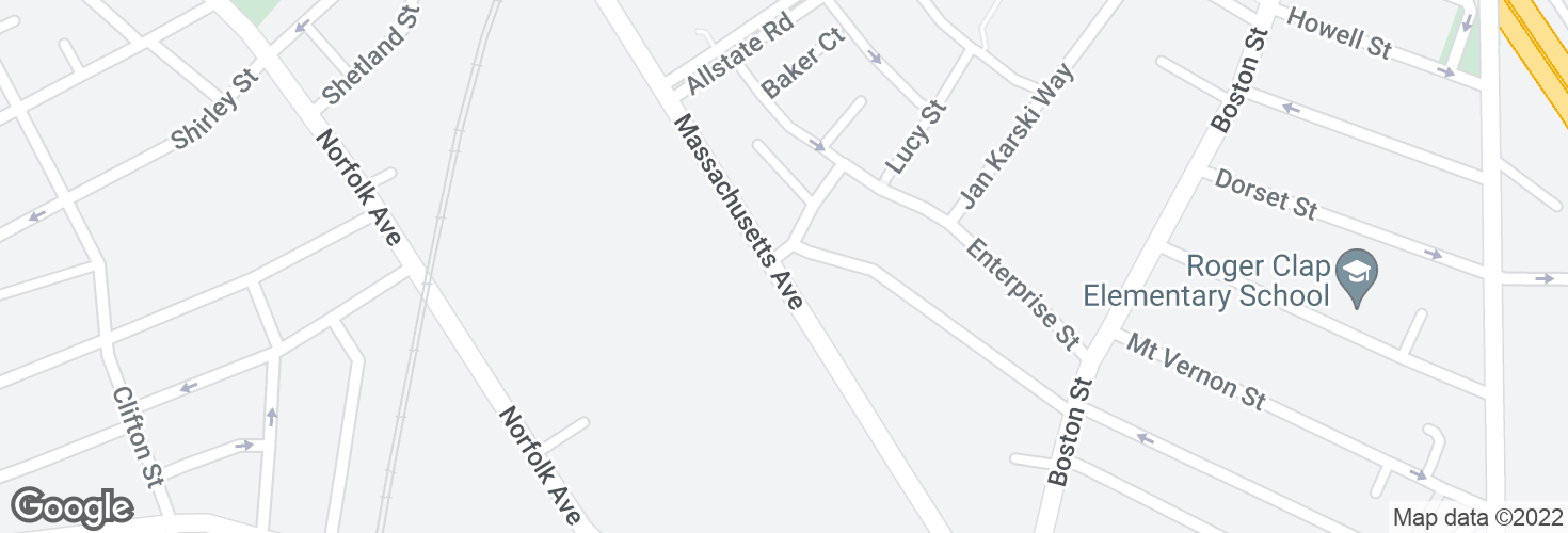 Map of Massachusetts Ave @ Clapp St and surrounding area