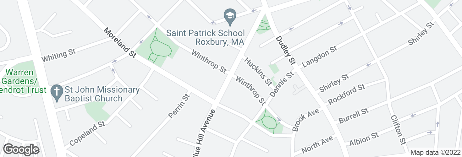 Map of Blue Hill Ave @ Winthrop St and surrounding area