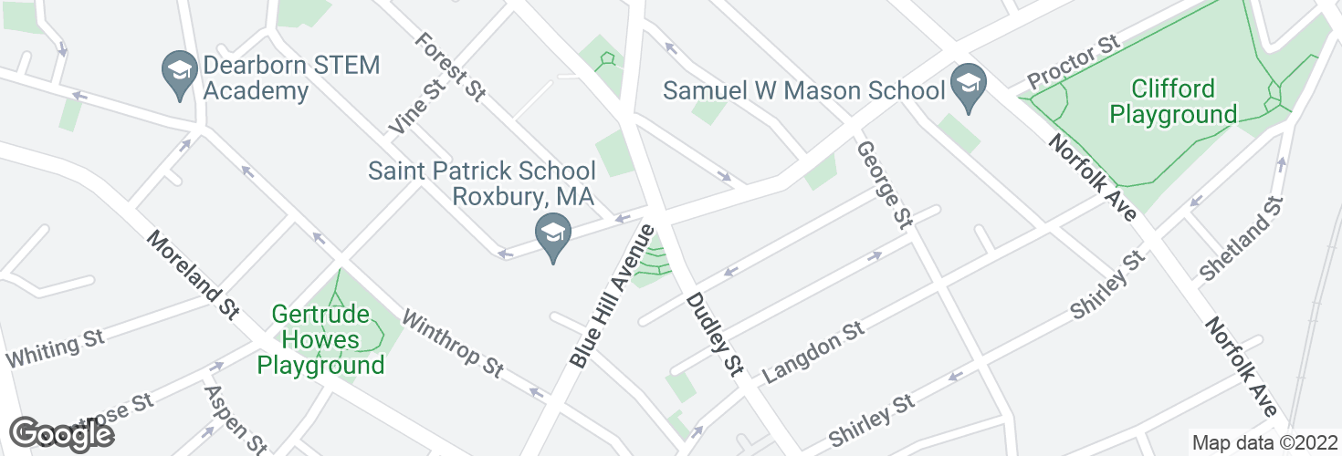 Map of Dudley St @ Magazine St and surrounding area