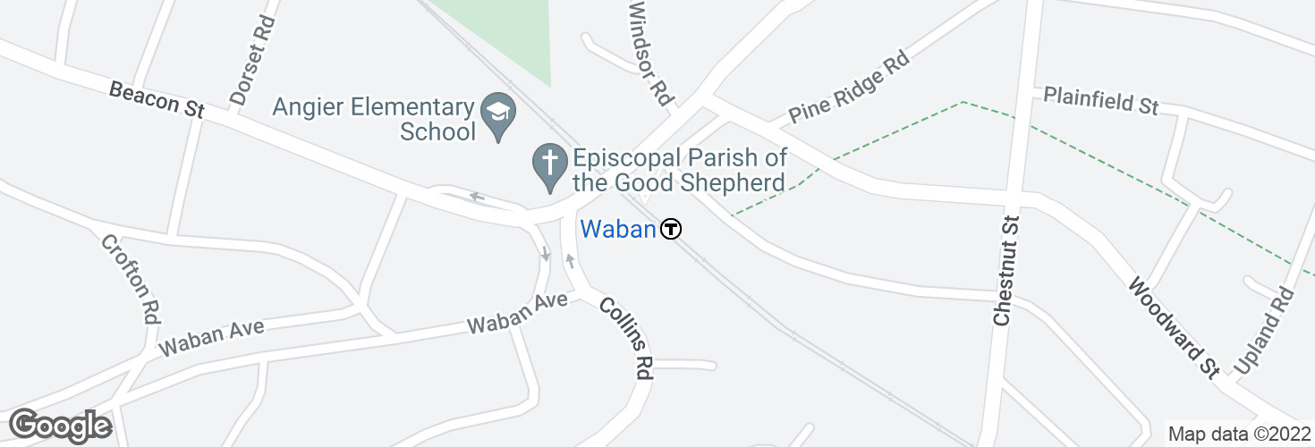 Map of Waban and surrounding area