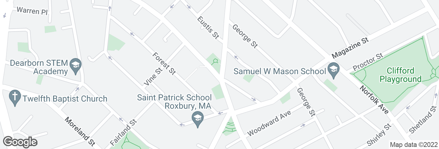 Map of Dudley St @ Hampden St and surrounding area