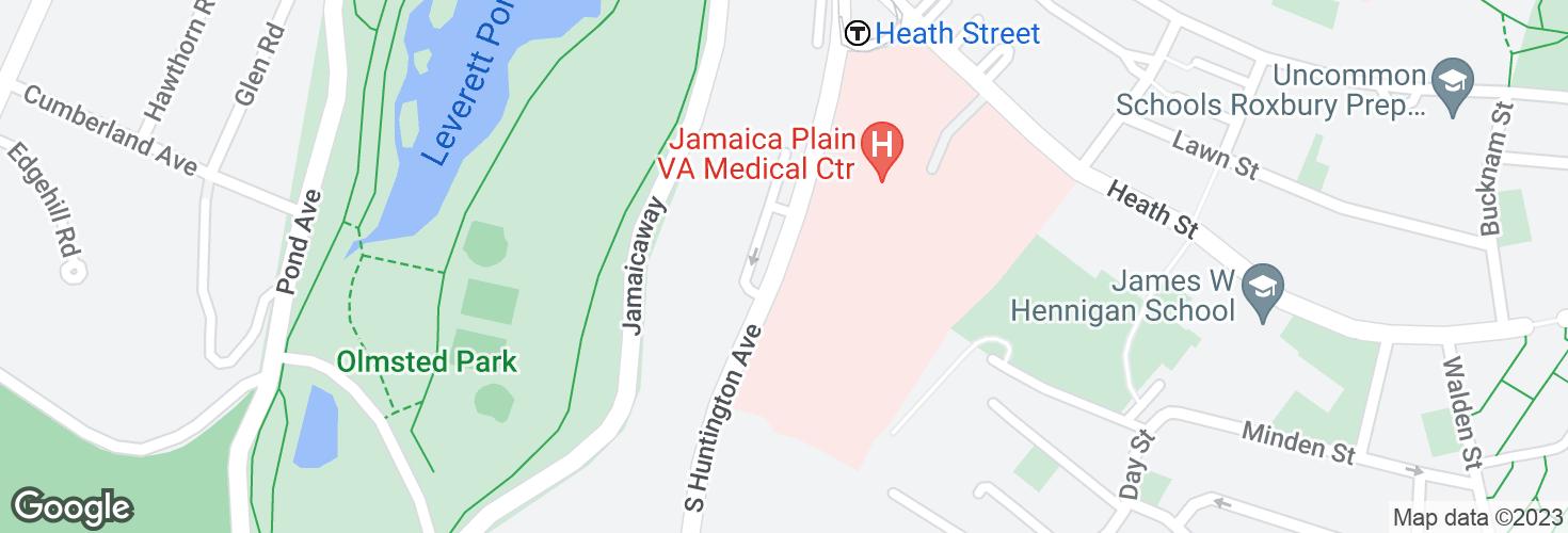 Map of S Huntington Ave @ VA Hospital and surrounding area