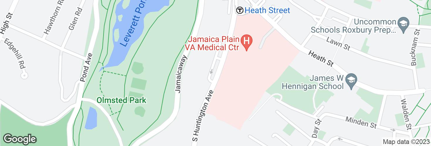 Map of S Huntington Ave opp VA Hospital and surrounding area
