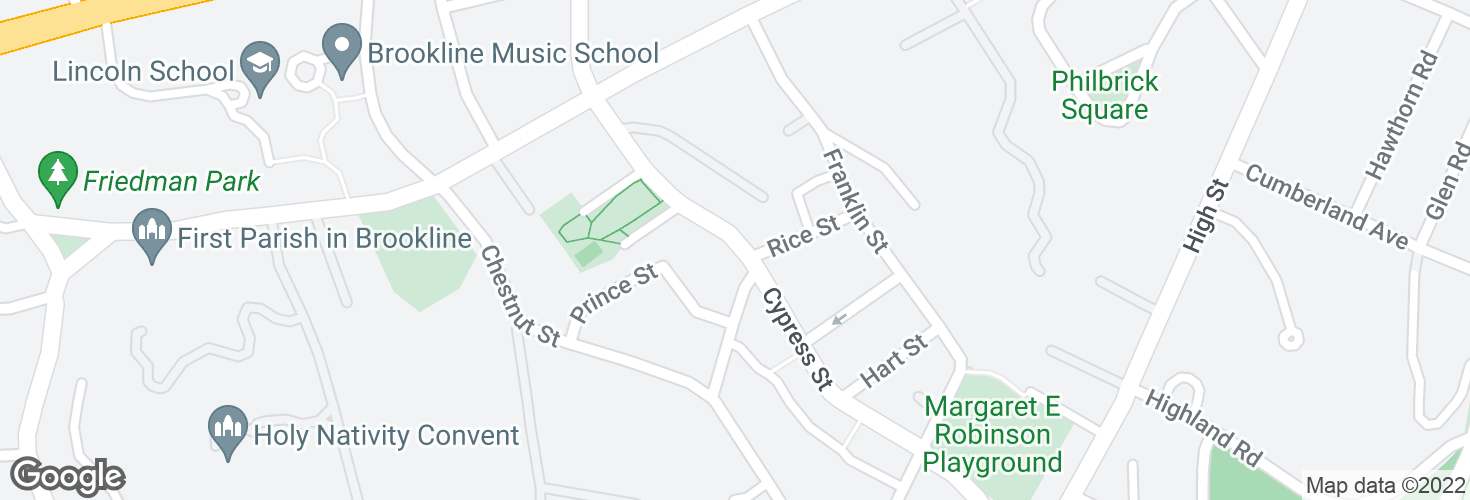 Map of Cypress St @ Kendall St and surrounding area