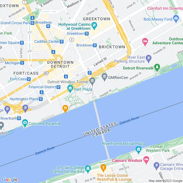 Map of Detroit Windsor Tunnel