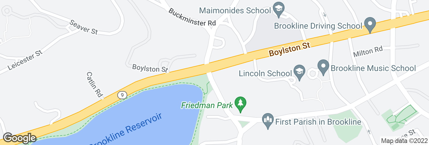 Map of Boylston St @ Warren St and surrounding area