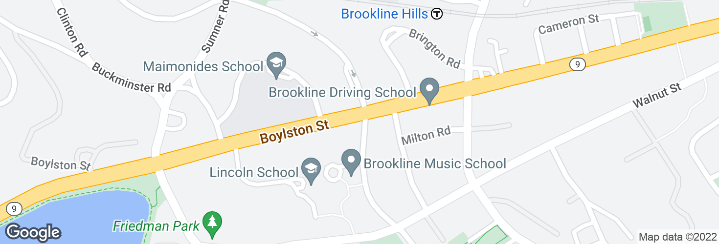 Map of Boylston St @ Kennard Rd and surrounding area