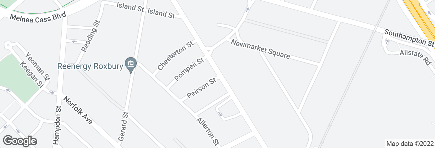 Map of Massachusetts Ave @ Peirson St and surrounding area