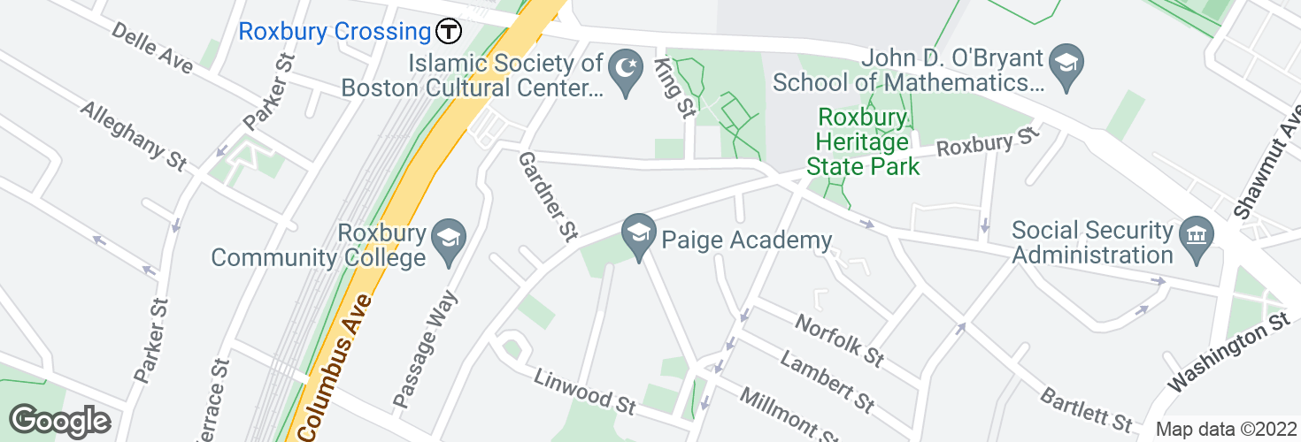 Map of Centre St @ Highland Ave and surrounding area