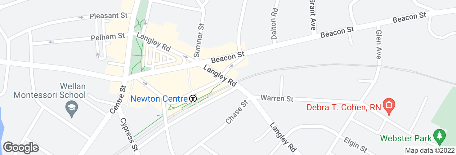 Map of Newton Centre and surrounding area