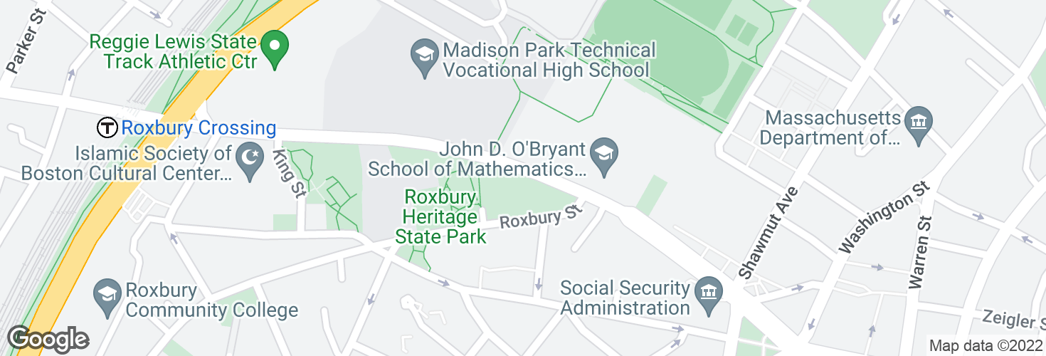 Map of Malcolm X Blvd opp O'Bryant HS and surrounding area