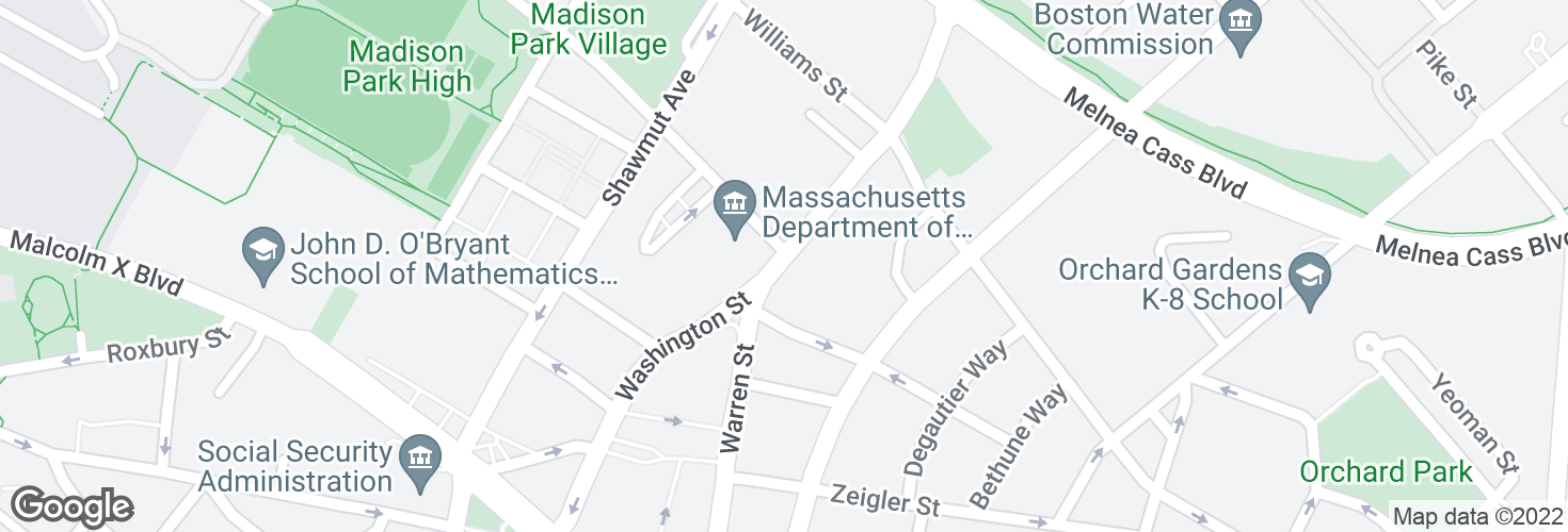 Map of Washington St opp Ruggles St and surrounding area