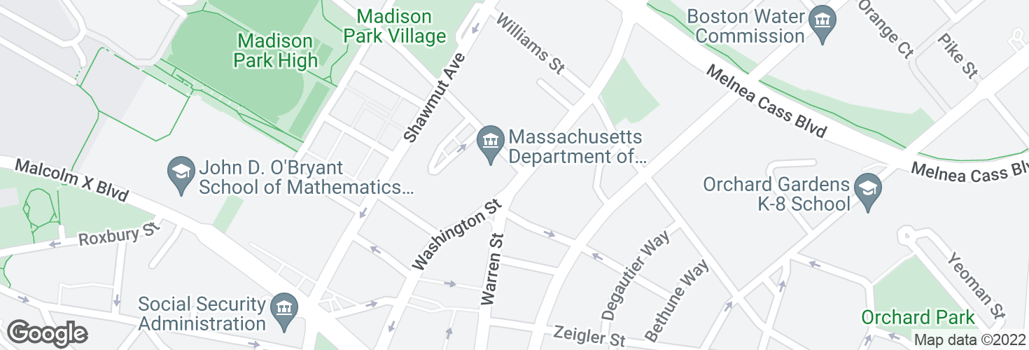Map of Washington St @ Ruggles St and surrounding area