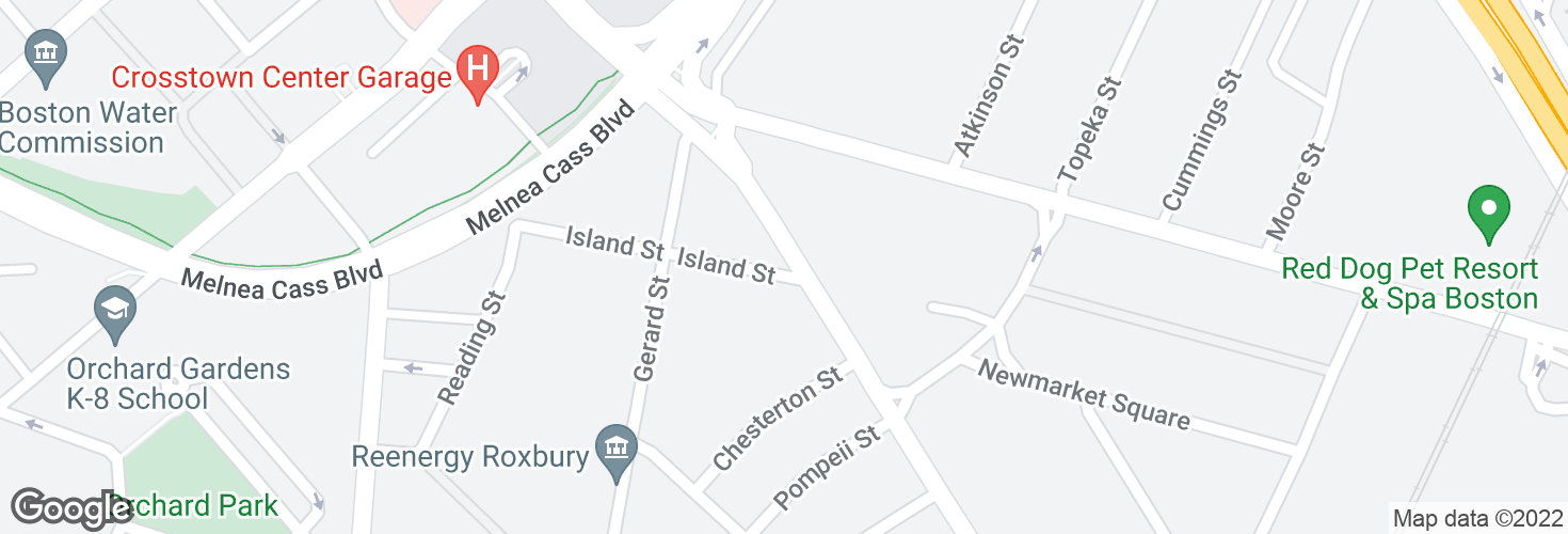Map of Massachusetts Ave @ Island St and surrounding area