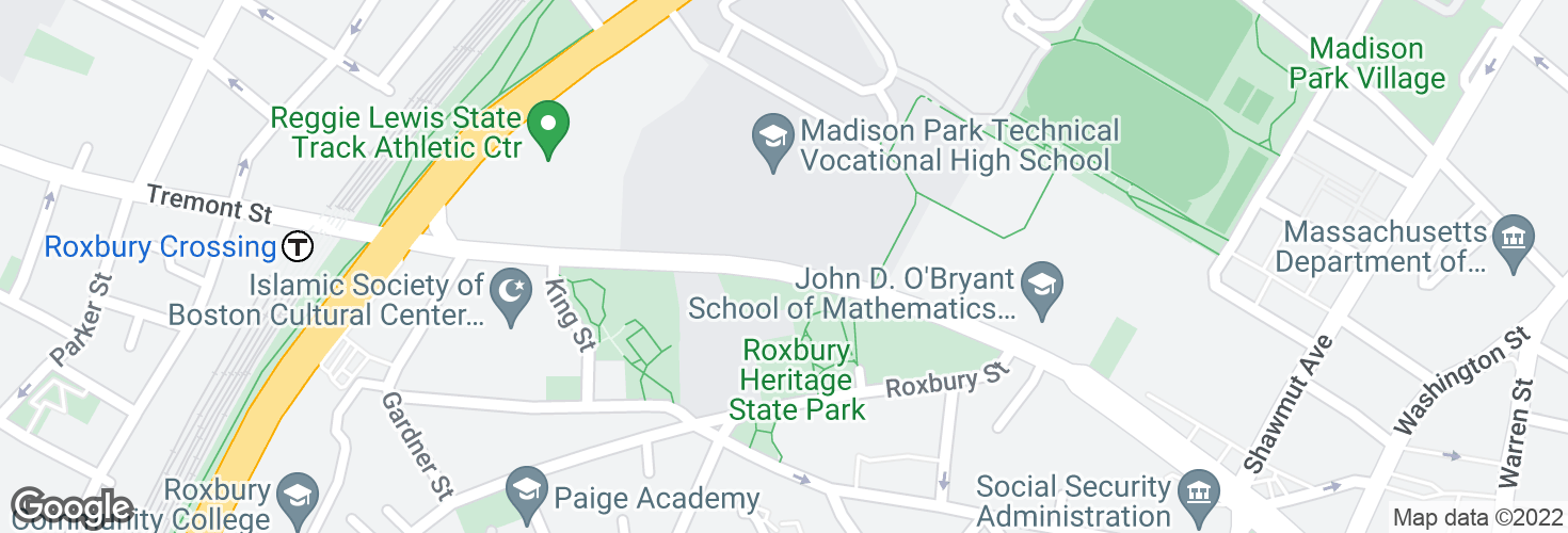 Map of Malcolm X Blvd @ Madison Park HS and surrounding area