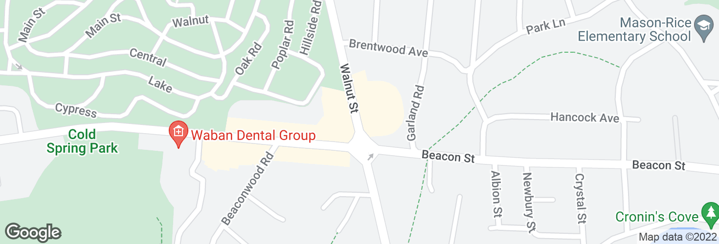Map of Walnut St @ Beacon St and surrounding area