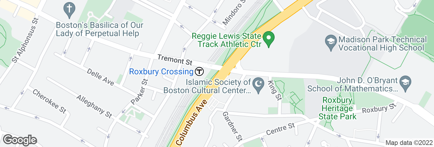 Map of Tremont St @ Roxbury Crossing Station and surrounding area