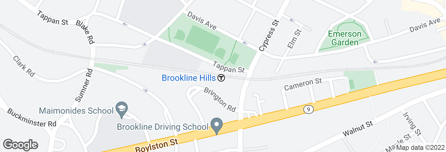 Map of Brookline Hills and surrounding area