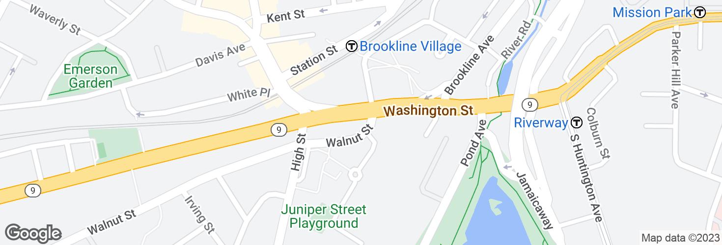 Map of Washington St @ Walnut St and surrounding area