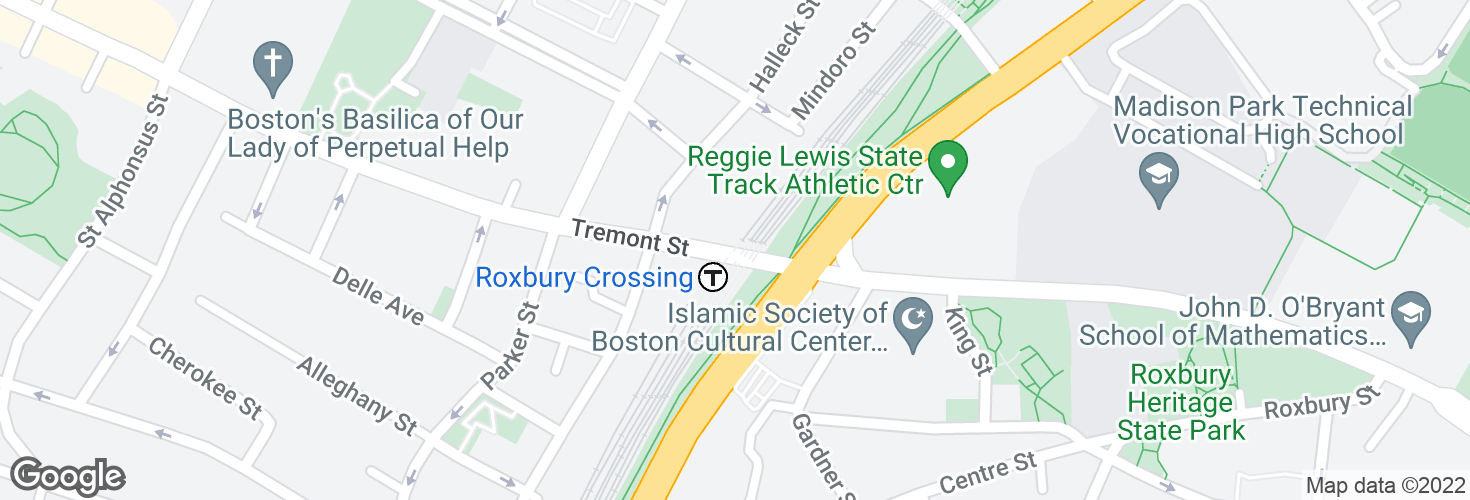 Map of Tremont St opp Roxbury Crossing Sta and surrounding area