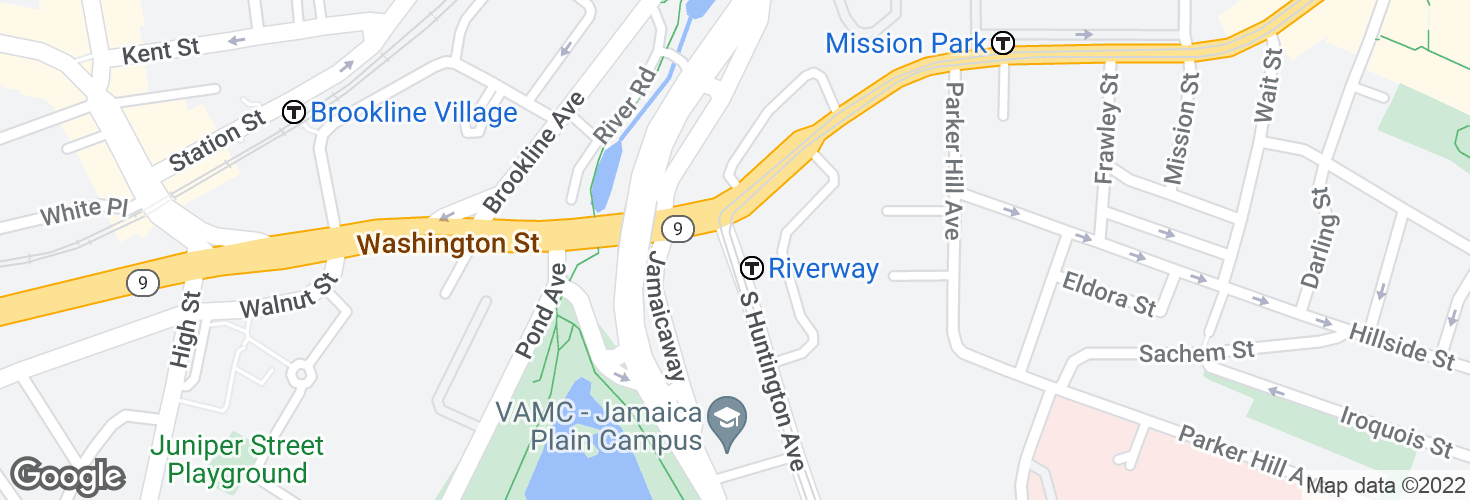 Map of Riverway and surrounding area