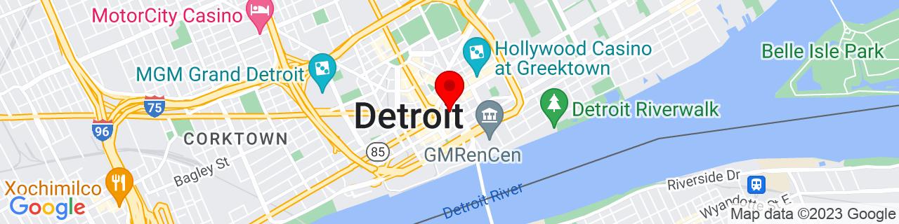 Google Map of 42.33171979999999, -83.04459039999999