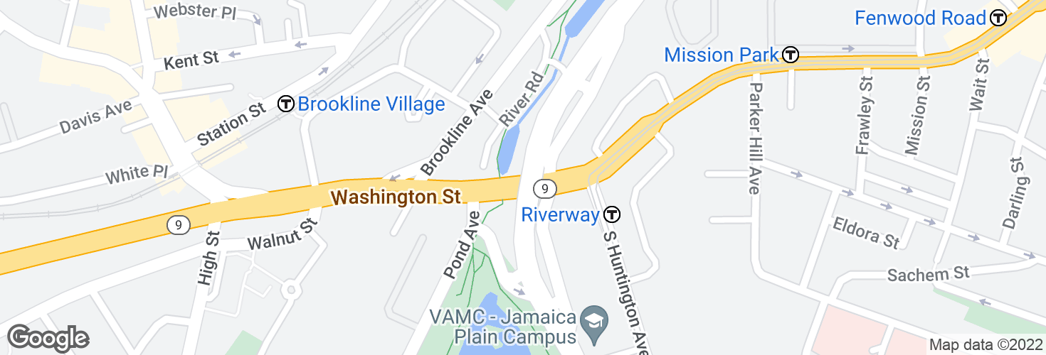 Map of Huntington Ave @ Riverway and surrounding area