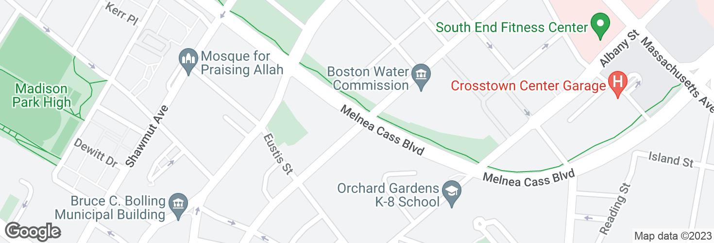 Map of Melnea Cass Blvd @ Harrison Ave and surrounding area