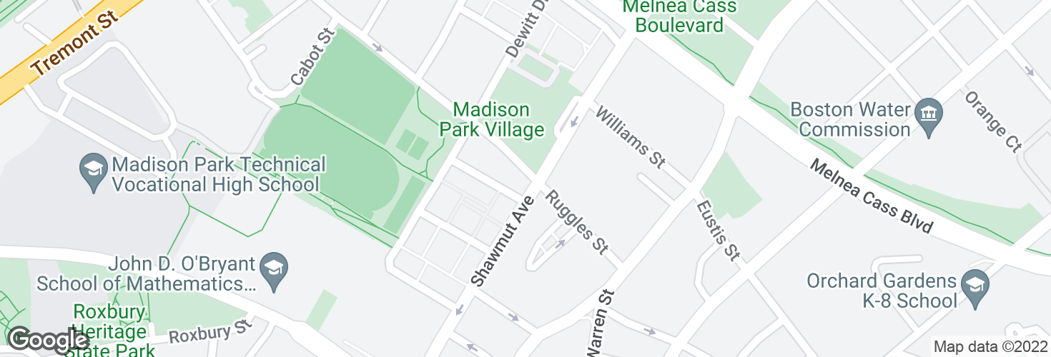 Map of Ruggles St @ Shawmut Ave and surrounding area