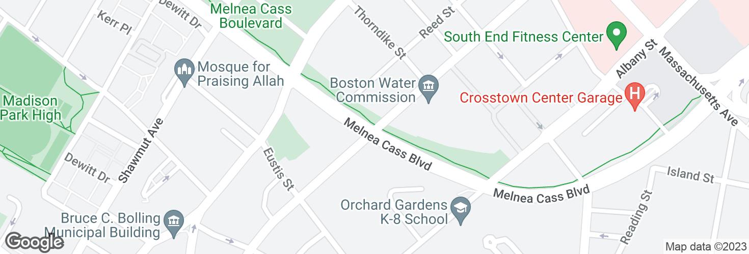 Map of Harrison Ave @ Melnea Cass Blvd and surrounding area