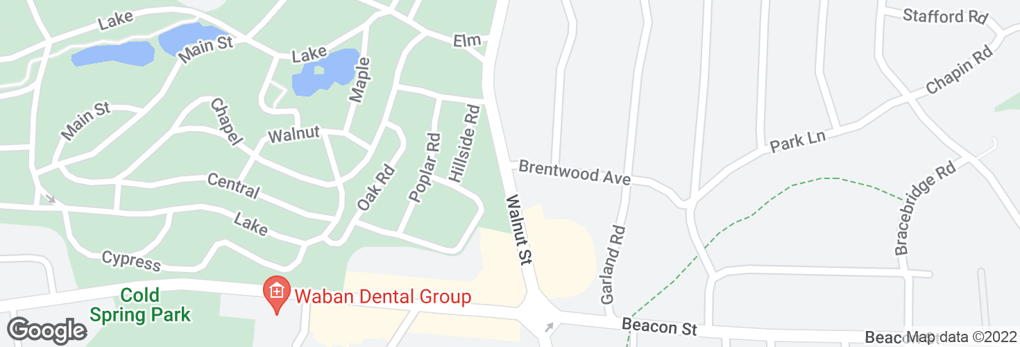 Map of Walnut St @ Brentwood Ave and surrounding area