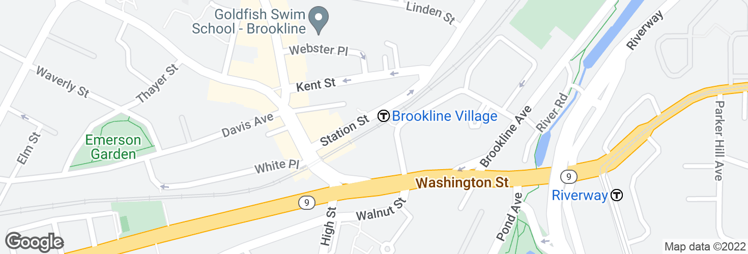 Map of Brookline Village and surrounding area