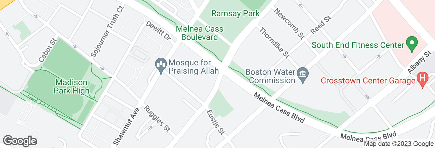 Map of Washington St @ Melnea Cass Blvd and surrounding area