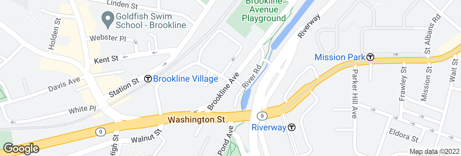 Map of Brookline Ave @ Pearl St and surrounding area